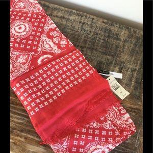 NWT Talbots Red & White Scarf/Wrap